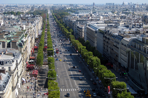 The Champs-Elysees: great to write about during the Tour de France. Photo by Wally Gobetz