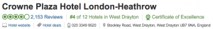 Trip Advisor Review for Crowne Plaza London Heathrow | Book FHR Blog